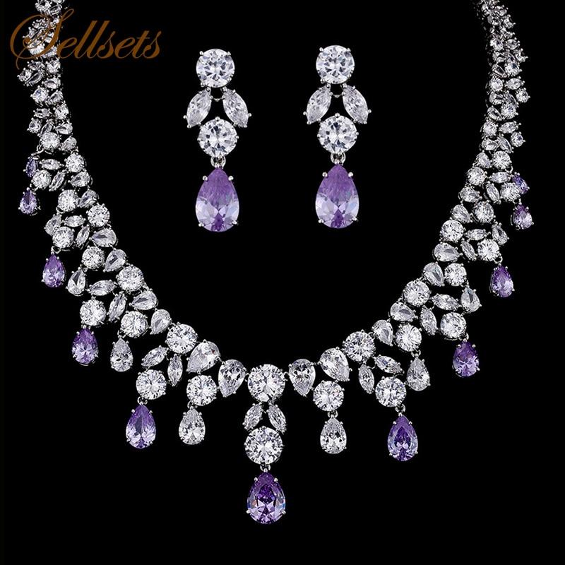 Sellsets Diseño Púrpura Circón Piedra Water Drop Shape Cubic Zirconia Joyería de