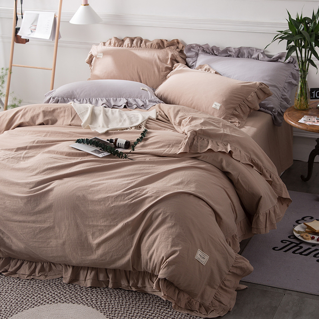 Solid Color Camel Ruffles Bedding Set Queen King Size Bedlinen 100 Cotton Quilt Cover Pillowcases