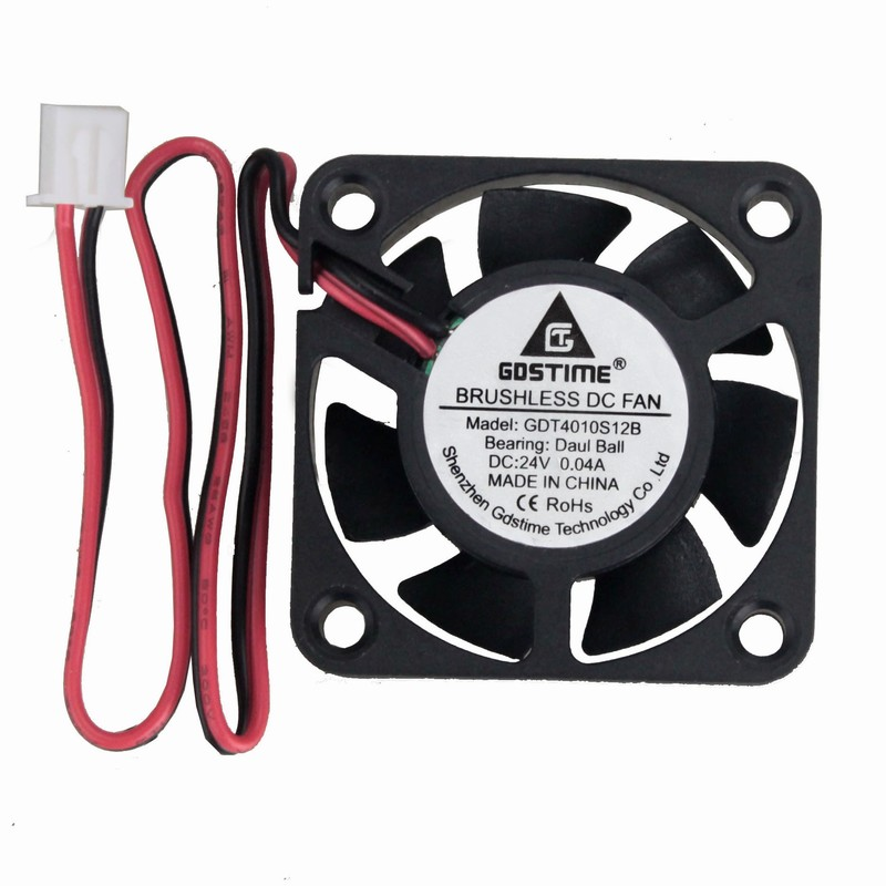 2Pcs Gdstime DC 24V 40mm x 40mm x 10mm 2-Pin Ball Bearing Computer PC Case Silent Cooling Fan 4010 цена