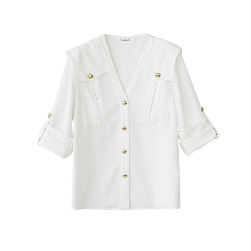 À Unique 2018 V Poitrine Nouvelle Blanches Chemises Marin Femmes Top Cou Manches Bouton Chemisier Longues Automne Blanc Blouses Dabuwawa PH8qB4