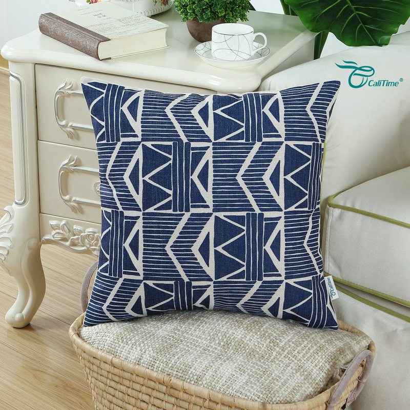 Calitime Navy Blue Decorative Pillow Shell Cushion Cover Home Sofa Car Geometric 18 X 45cm In From Garden On