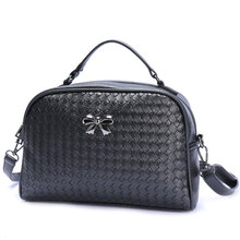 Retro Woven Pattern Small Bag Japan Style Trendy Knitting Hand Bag Simple Bowknot Ladies Black Silvery Cheap Shoulder Bag