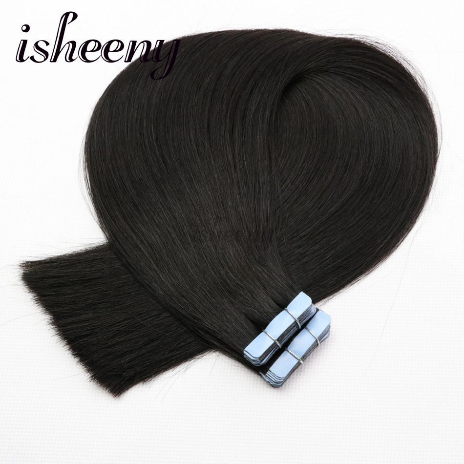 Isheeny 16 18 20 22 Remy Double Drawn Tape In Human Hair Extensions Black Brown Blonde