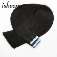 Isheeny 16 18 20 22 Remy Double Drawn Tape In Human Hair Extensions Black Brown Blonde Pure Color 20pc 40pc