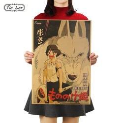 Галстук Лер комиксов Принцесса Мононоке классический ностальгическая Крафтовая бумага постер для бара/кафе Ретро стены стикеры