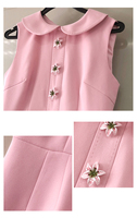 Vestido verano rosa corto sin mangas botón flor 4