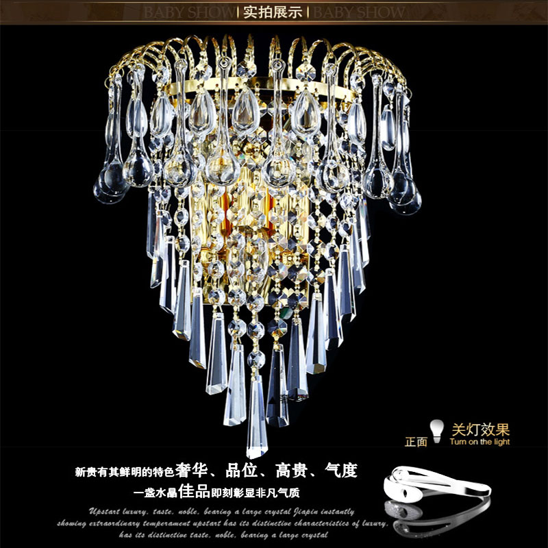 ФОТО European Style Stainless Steel Wall Lamp Crystal Creative Simple Golden crysal wall lamp Living Room Bedroom Bedside light
