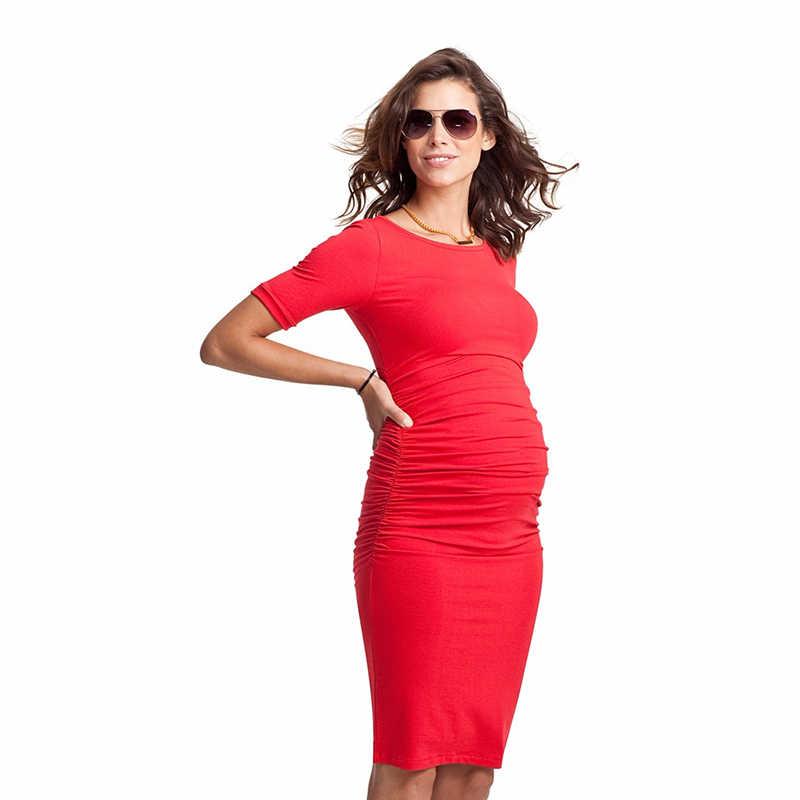 b50b6c345a5 ... Летние платье для беременных  Материнство Одежда для беременных женщин  по колено офис леди элегантный Бизнес