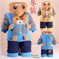Meninos roupas outono e inverno conjunto de roupas de bebê menino do inverno do bebê 0-1-2 anos de idade espessamento wadded jaqueta outerwear