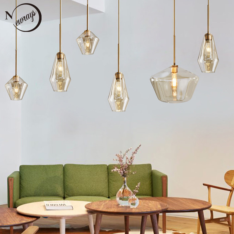 Nordic modern minimalist E27 LED glass single head pendant lamps for dining room living room bedroom study restaurant cafe bar nordic american modern minimalist creative led pendant lights living room dining glass three head pastoral bird pendant lamps