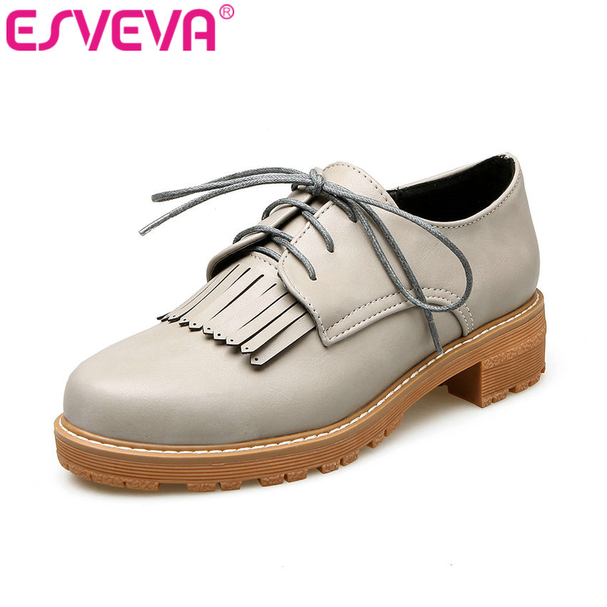 ESVEVA 2017 British Style Women Shoes Med Heel Women Pumps Lace Up Oxfords Square Heel Round Toe Women's Casual Shoes Size 34-43