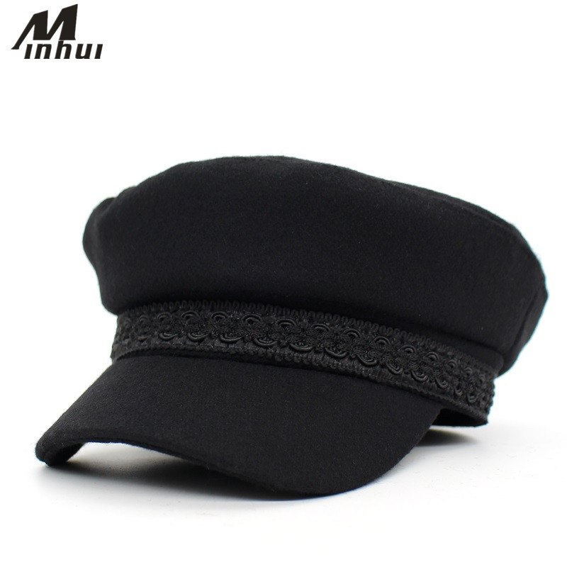 a9d1f077944 Minhui 2018 New Fashion Lace Black Hat Women Military Hats Gorras Female Ladies  Hat -in Military Hats from Apparel Accessories on Aliexpress.com