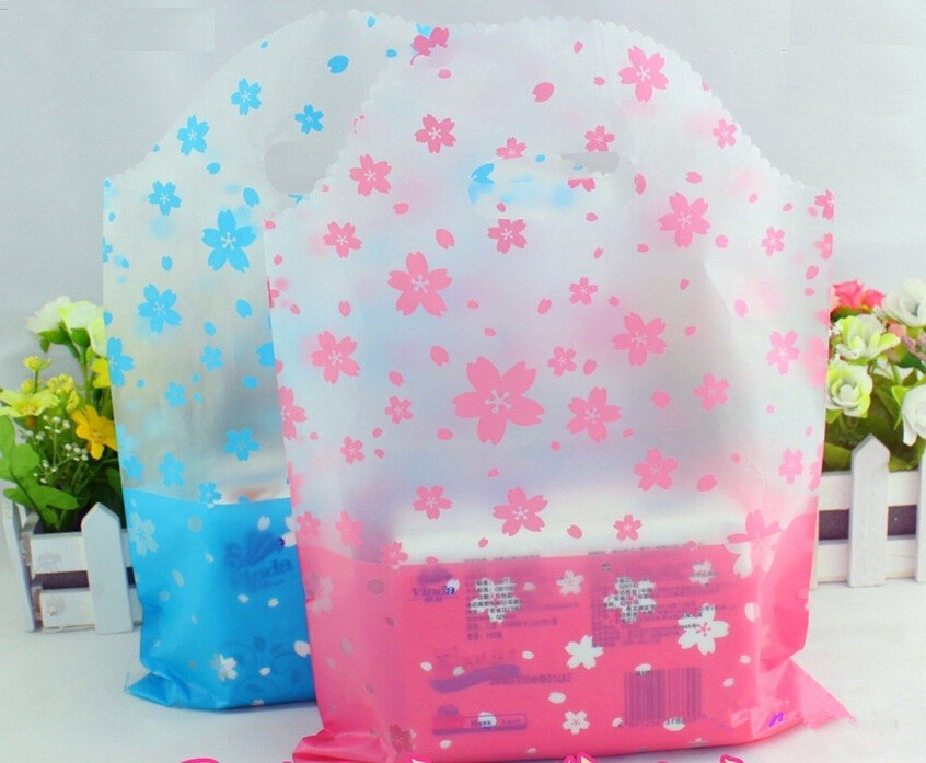 flower blue shopping plastic gift bags with handle/ pink plastic bags for gifts