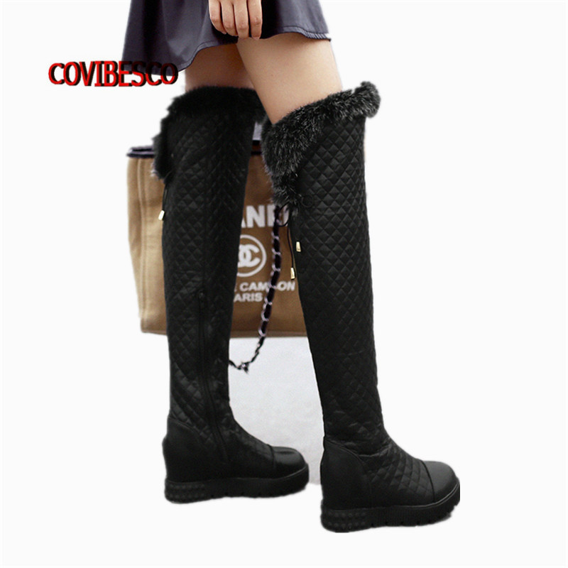 ФОТО Top Quality Rabbit Fur Women Over The Knee Boots Sexy Wedges High Heels Snow Boots Female Autumn Winter Long High Boots Big Size