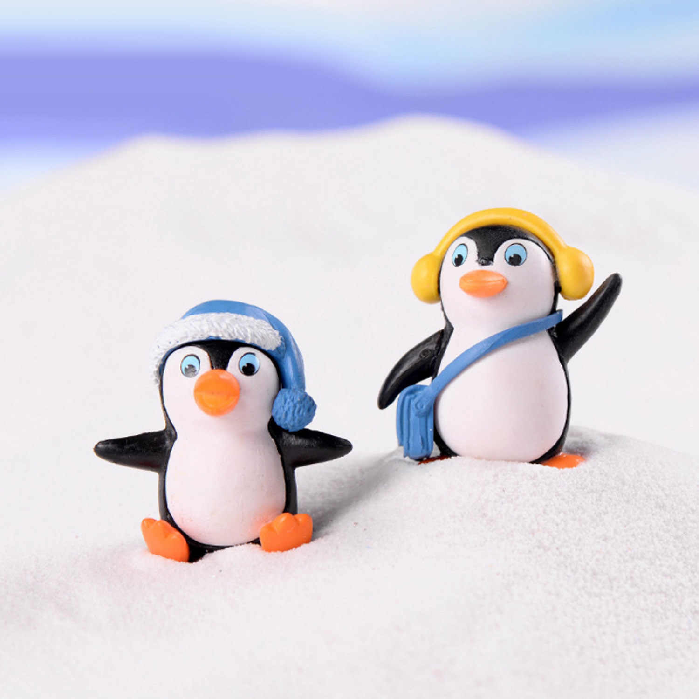Besegad 4 pcs Mini Pinguim Bonito Brinquedos Figuras de Coco Do Bolo para DIY Micro Paisagem Bonsai Ornamento Do Jardim Favores Do Partido de Fadas