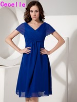 Royal Blue Simple Short A Line Knee Length Chiffon Beach Bridesmaid Dresses Summer Casual Informal Wedding