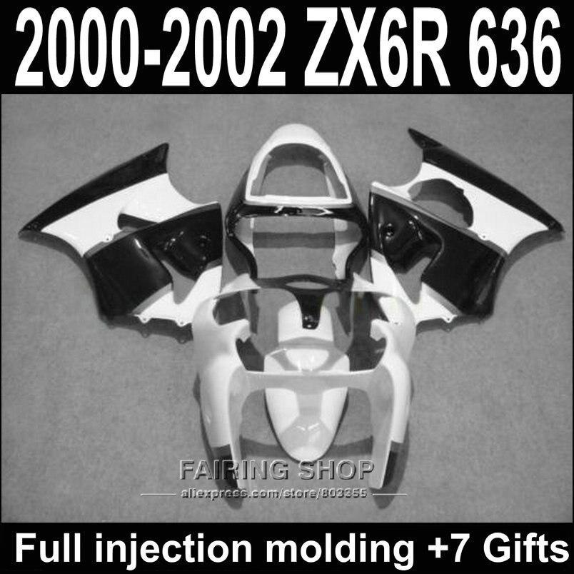 Черный белый Обтекатели для Kawasaki запросу zx6r 2000 2002 2001 / на ZX-6р 00 01 02 лучшее качество ABS обтекатель комплект для С22