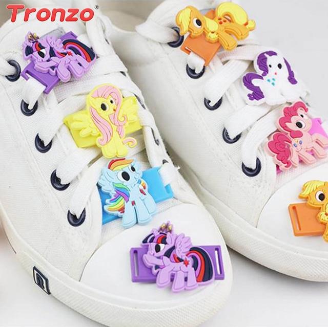 febdc1a1ea752c Tronzo 6pcs Unicorn Party Shoes Lace Buckle Unicorn Decorations Kids Cute  Rainbow Plastic Shoes Lace Buckle