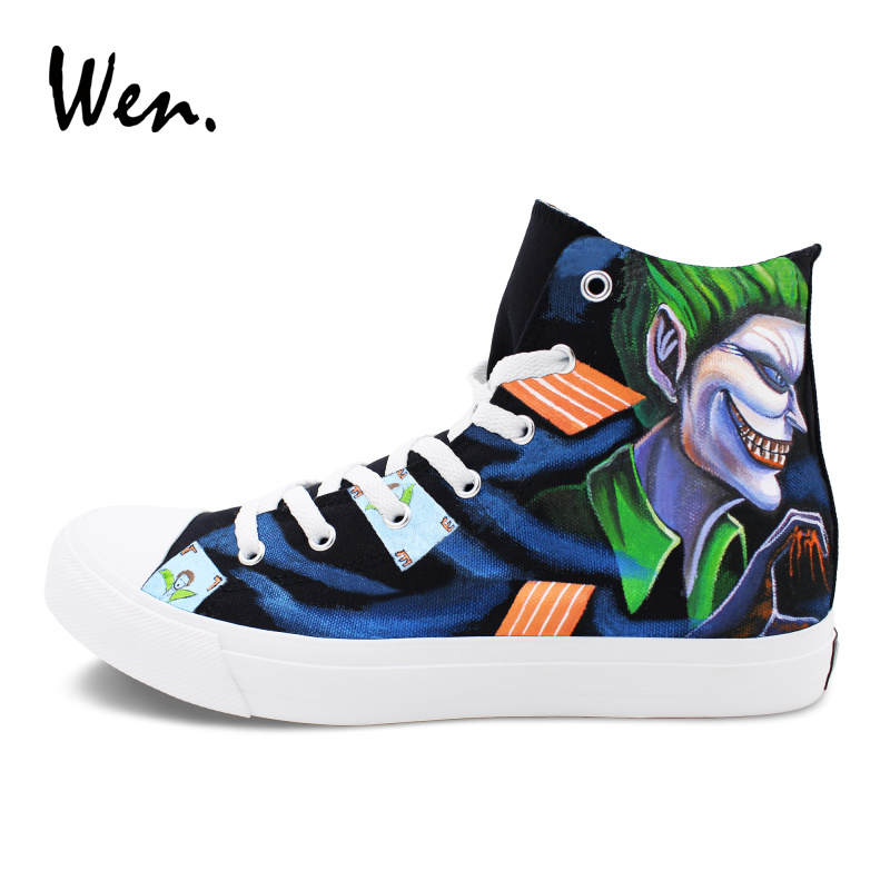 Wen Hand Painted Sneakers Women Men Black Canvas Flat Design Joker Poker Graffiti Shoes High Top Athletic Sport Plimsolls wen sneakers colorful ice cream hand painted canvas shoes white high top plimsolls original design graffiti single shoes flat