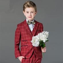 Good quality boy formal ceremony performance coat jacket vest pants suit 3pcs(coat+vest+pants)/5pcs(coat+vest+pants+shirt+tie)