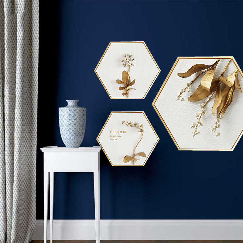 Golden Times Hexagon Canvas Painting Posters and Prints Oil Wall Art Canvas Framed Home Decoration Hallway Bedroom Picture
