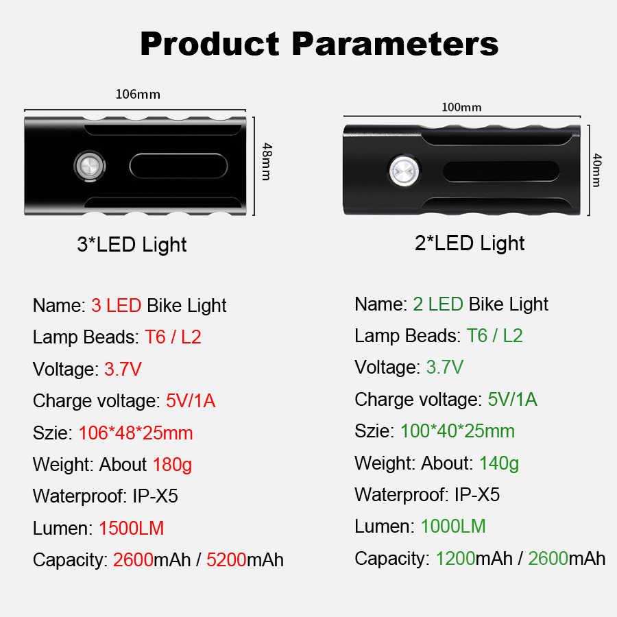 Светильник для велосипеда NEWBOLER 5200 мАч, T6 L2, вспышка, светильник для велосипеда, 2400 люмен, светодиодный фонарь, USB головной светильник, кронштейн, велосипедная лампа