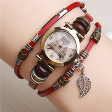 Whosale Hot Vintage Watch Cool Alloy Leather Bracelet Women Watches Leaf Pendant Decoration Quartz Ladies Wrist Watch Women