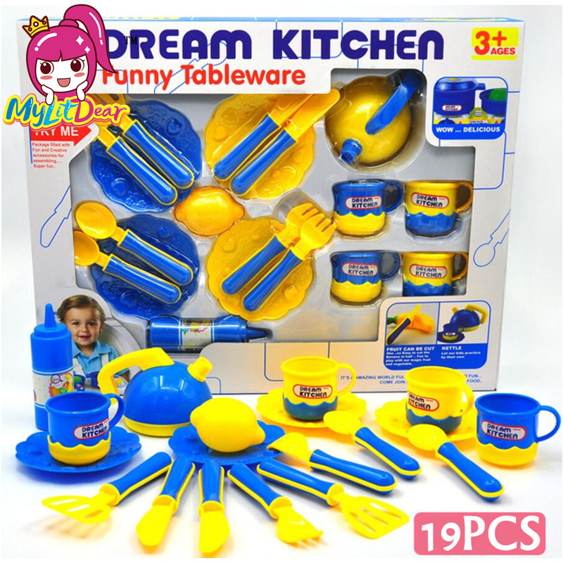 MylitDear 19pcs/set Plastic Kitchen Food Fruit Vegetable Cutting Kids Pretend Play Educational Toy Cook Cosplay Mini Food Toys