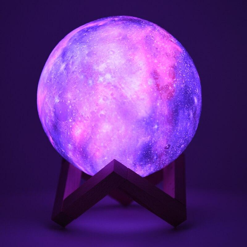 Rambery Moon лампа 3D Moon ночник лампа с подставкой Звездная Галактическая лампа 3D лунный ночник пульт дистанционного управления 16 видов цветов дл...