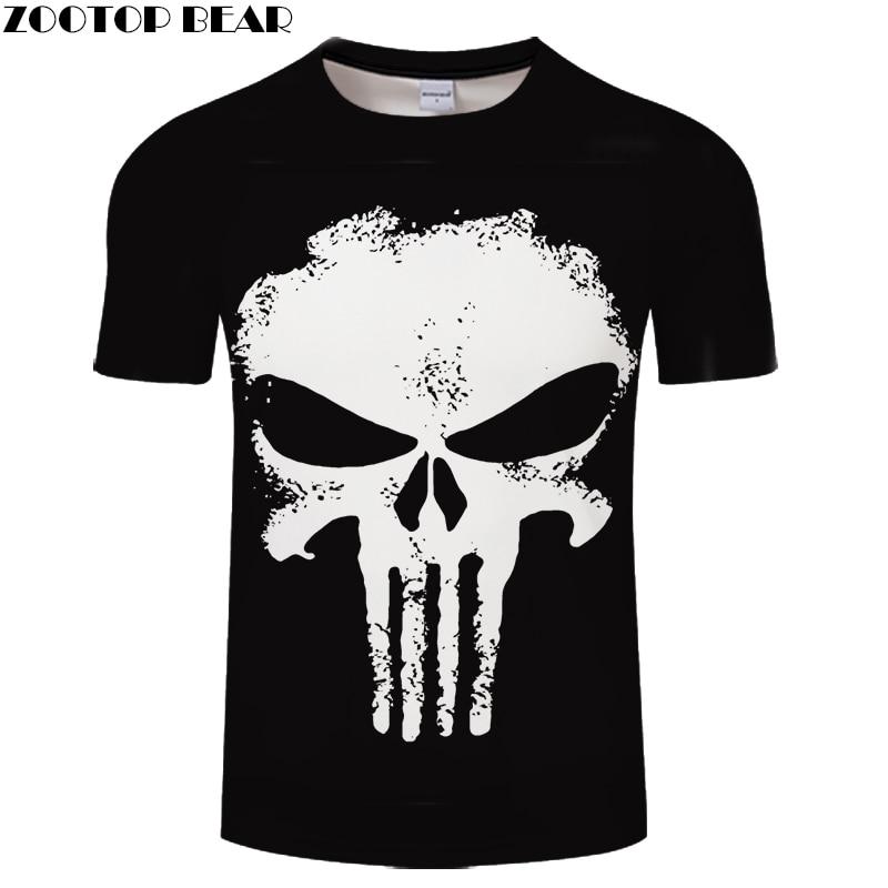 2018 Brand Clothing 3D T Shirt Men Punisher Design Summer Style Men T Shirt Fashion Plus Size Hip Hop Funny T Shirts Brand Top