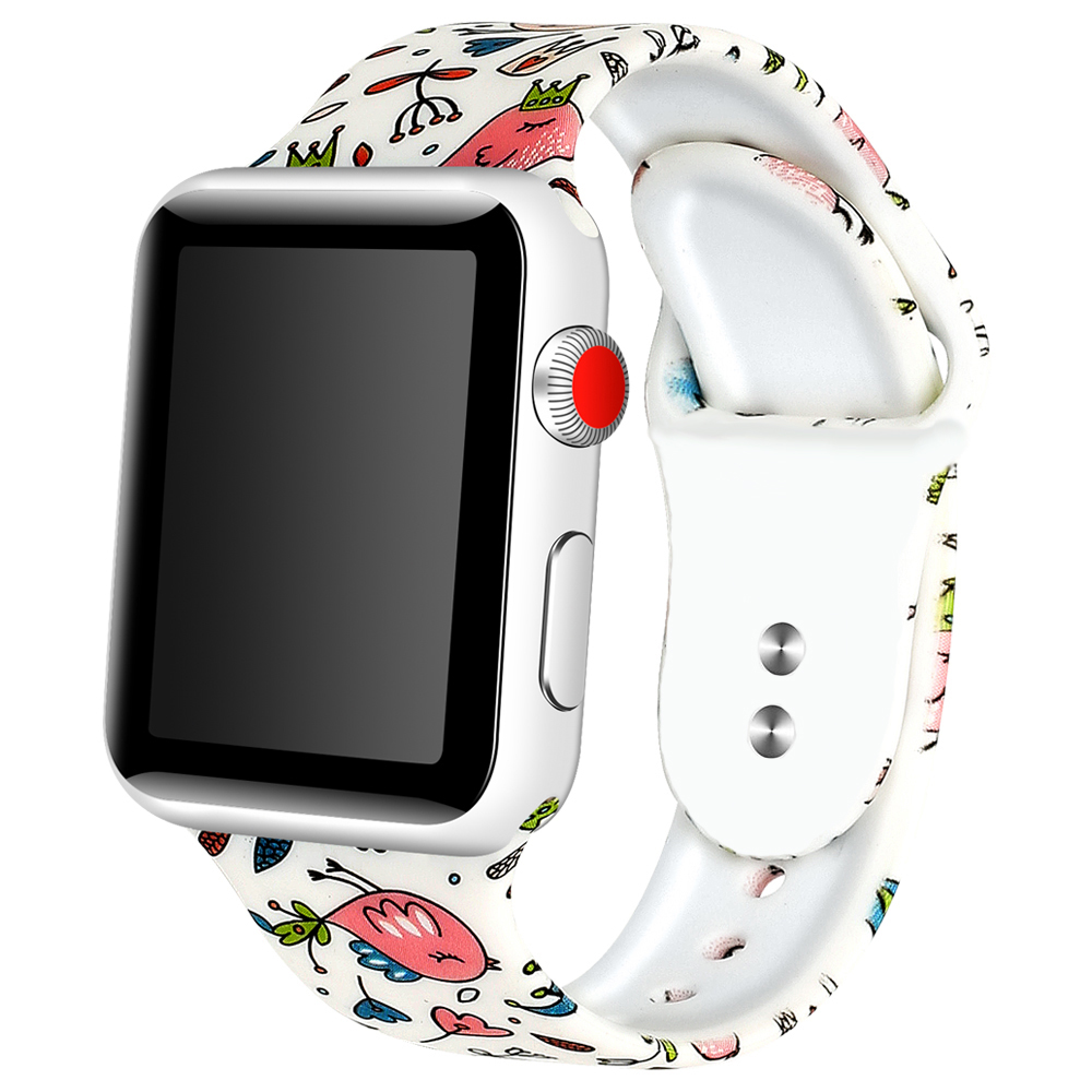 Soft Silicone Watchband For Apple Watch Band 1/2/3/4 Series 38mm 42mm 40mm 44mm iwatch Printing Flower Style Bracelet StrapSoft Silicone Watchband For Apple Watch Band 1/2/3/4 Series 38mm 42mm 40mm 44mm iwatch Printing Flower Style Bracelet Strap