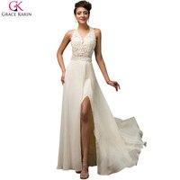 Sexy High Split Evening Dresses Long 2016 Grace Karin Elegant Halter Evening Dress Open Back Sequin