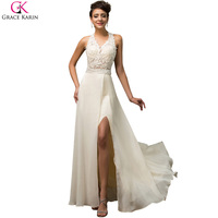 Sexy High Split Evening Dresses Long 2017 Grace Karin Elegant Halter Evening Dress Open Back Sequin Beaded Formal Evening Gowns