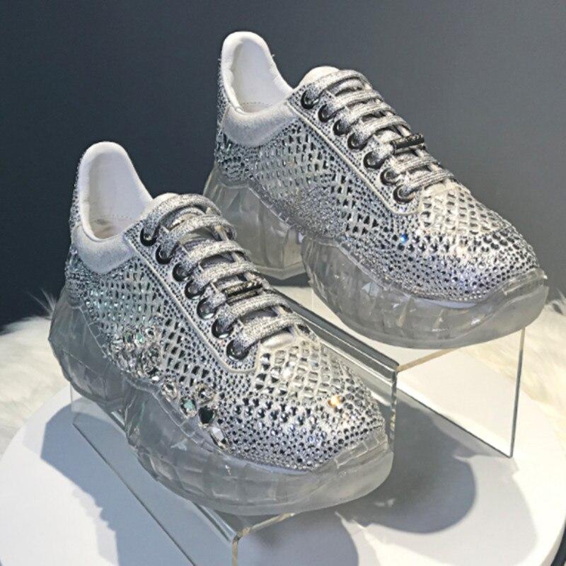 Zapatillas Deportivas Mujer прозрачные, со стразами кроссовки на платформе толстая массивная повседневная обувь женские кроссовки спортивная обувь