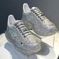 Zapatillas Deportivas Mujer; прозрачные, со стразами; на платформе; кроссовки; обувь на толстом массивном каблуке повседневная женская обувь женские кро