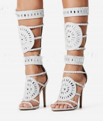 Toe Bottes Luxe Femme Dame Couverture Milieu Mi Sandales À Peep Découpes Filles Hauts Chaussures Noir Talons blanc Gladiateur Strass Haute mollet Sestito vzY5wdqY