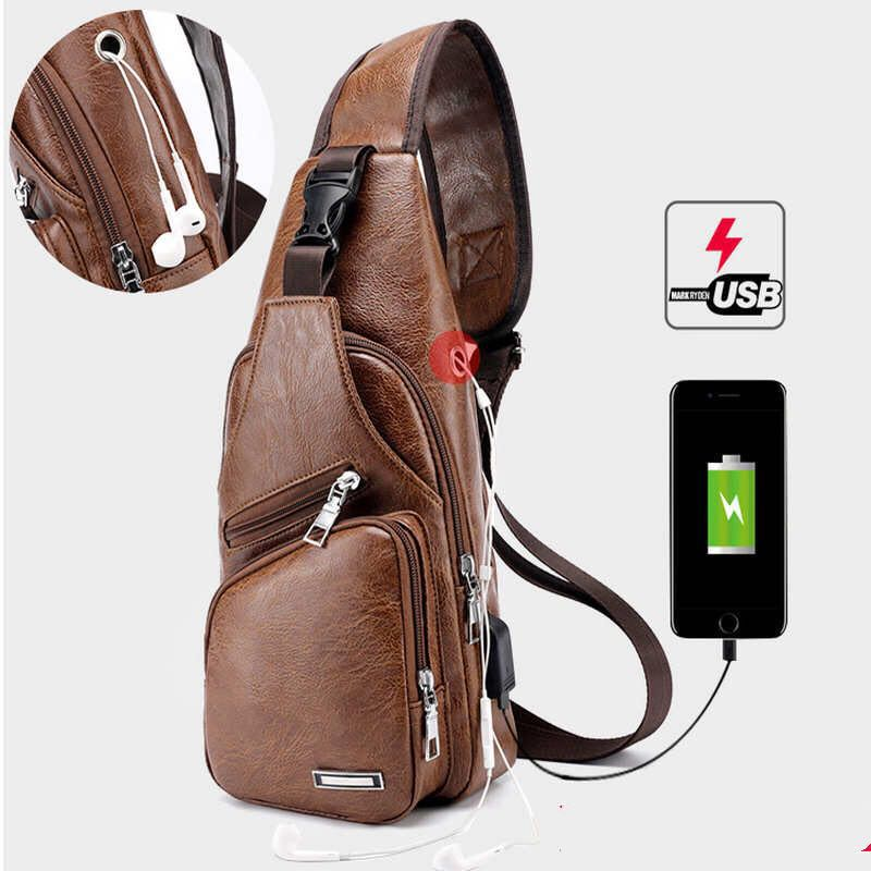 Fashion Genuine Leather Crossbody Bag men casual messenger bags Small Brand Designer Pack Casual Anti theft Shoulder Chest Bags