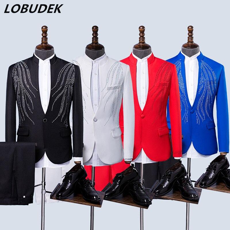Adulte mâle Choral robe 4 couleurs strass hommes costumes cristaux Blazers veste magicien bal hôte mariage Chorus scène tenue