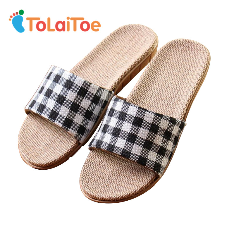 ToLaiToe 2017 New Linen Couples Home Floor Inside Anti-skid Slippers Silent Sweat Plaid Slippers Summer Women/Men Cool Sandals