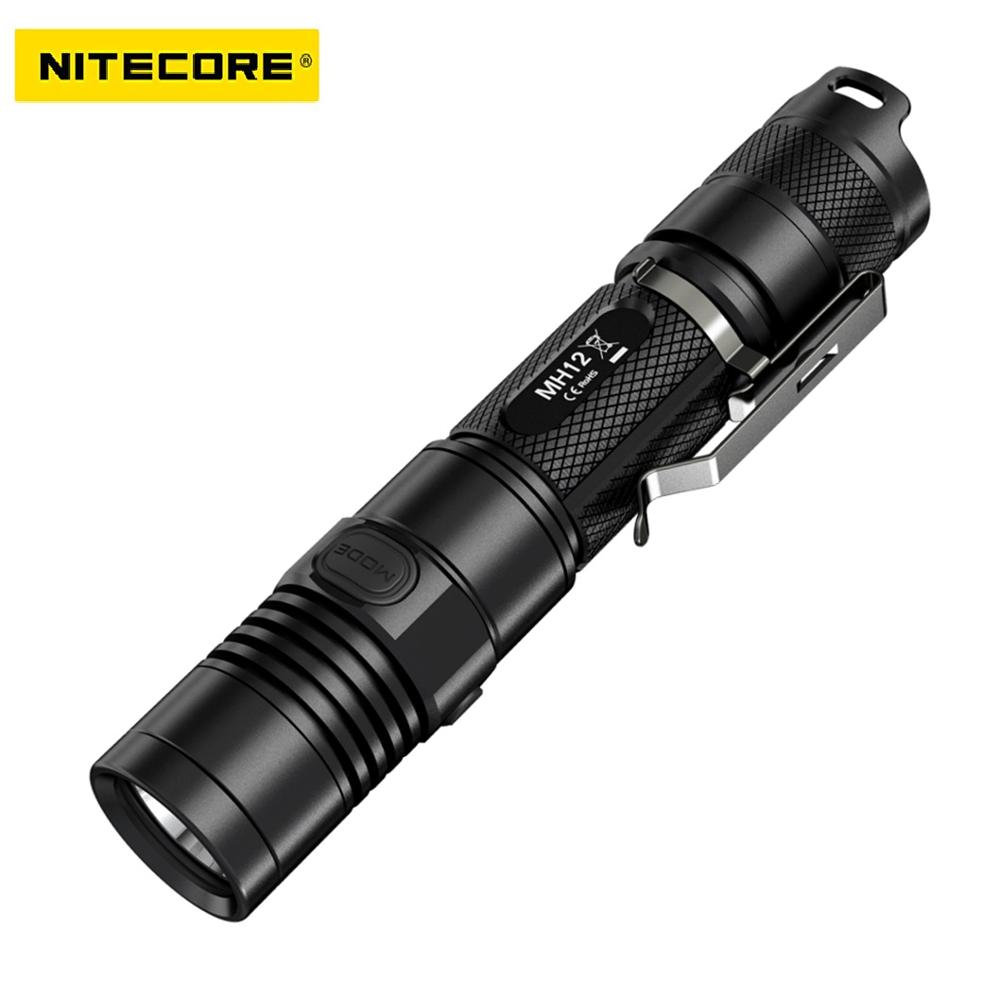 Nitecore MH10 1000 lumens CREE XM-L2 U2 LED Flashlight Throw 232 meters Waterproof Light Flashlight by 18650 Battery nitecore tm26 searching flashlight 4 cree xml2 led 4000 scorching lumens 454m distance oled display light by 4 18650 battery