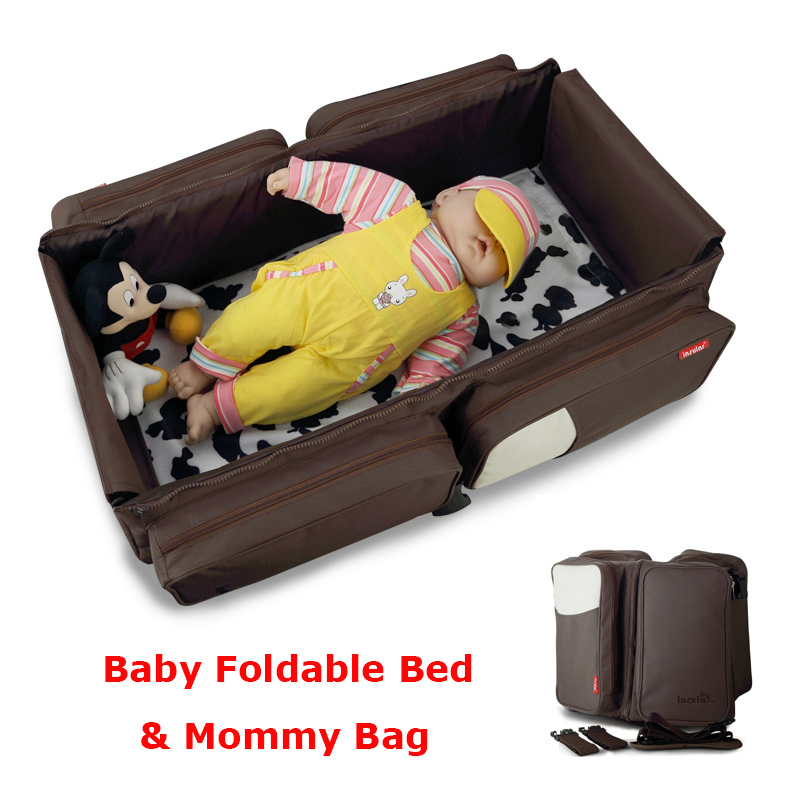 Portable Baby Diaper Bag Movement Baby Bed Large Capacity Waterprood Diaper Bag Cradles Bed Multifunctional Travel Mummy Bag