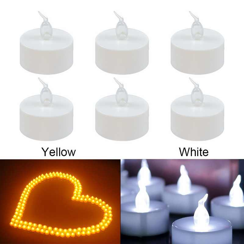 Dozzlor 6PCs Electronic LED Candle Light Smokeless Flameless Battery-Powered Decoration Tealight For Wedding Birthday Decor