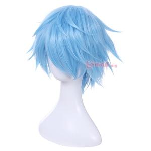 Image 2 - L email Peluca de Cosplay Kuroko no Basket para hombre, peluca corta de pelo sintético azul claro de 30cm
