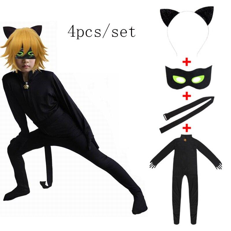 Criança preto gato noir cosplay traje magia halloween natal macacão menino adrian marinette super herói cosplay