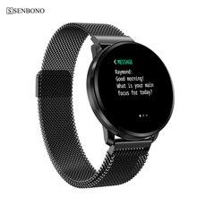 SENBONO IP67 مقاوم للماء ساعة ذكية CF68 الرجال ضغط الدم الرياضة النساء شاشة كاملة اللمس Smartwatch معدل ضربات القلب سوار ذكي