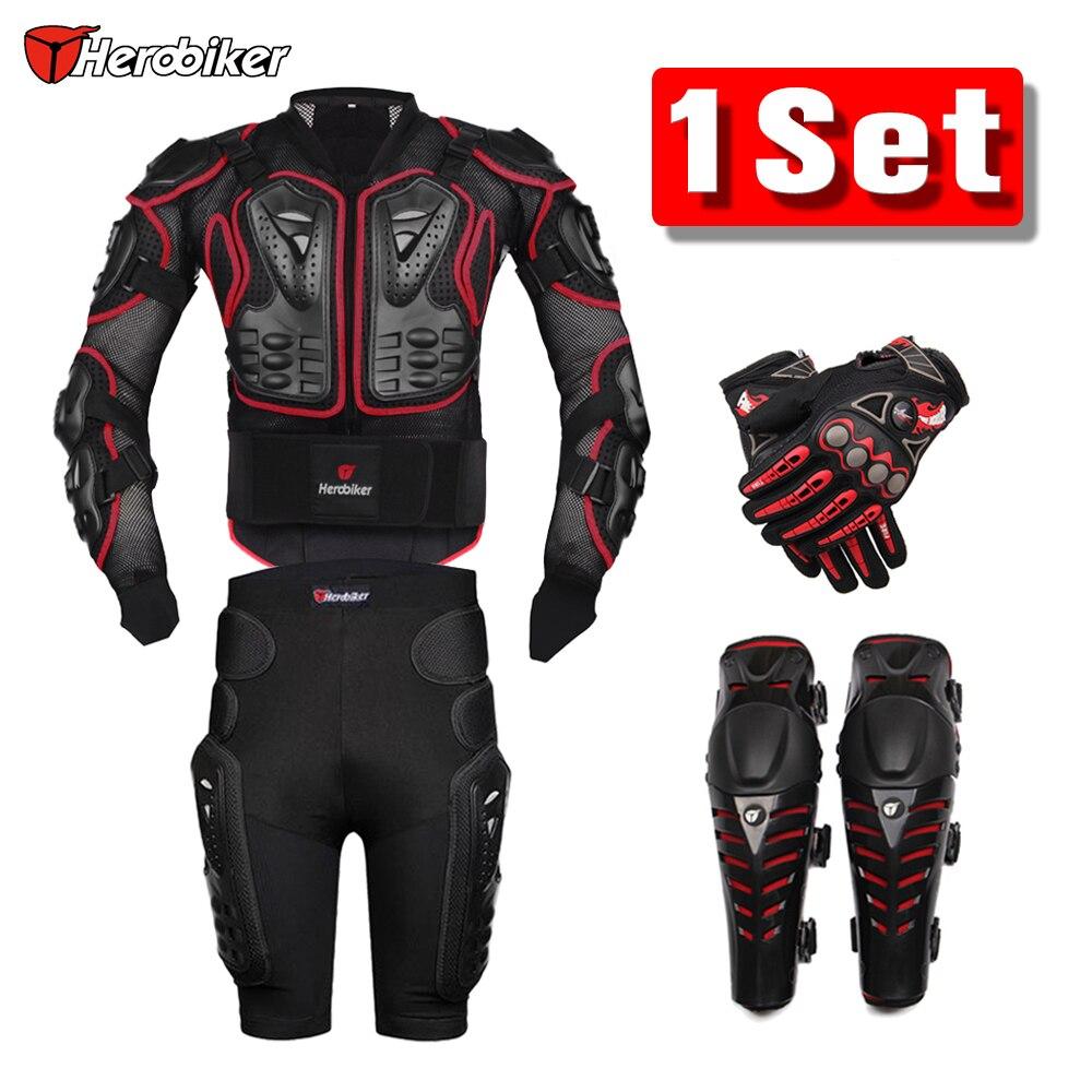 HEROBIKER красный Мотокросс Гоночный Мотоцикл бронежилет защита мотоциклетная куртка комплект из 2 предметов + Защитная Шестерни наколенники + ...
