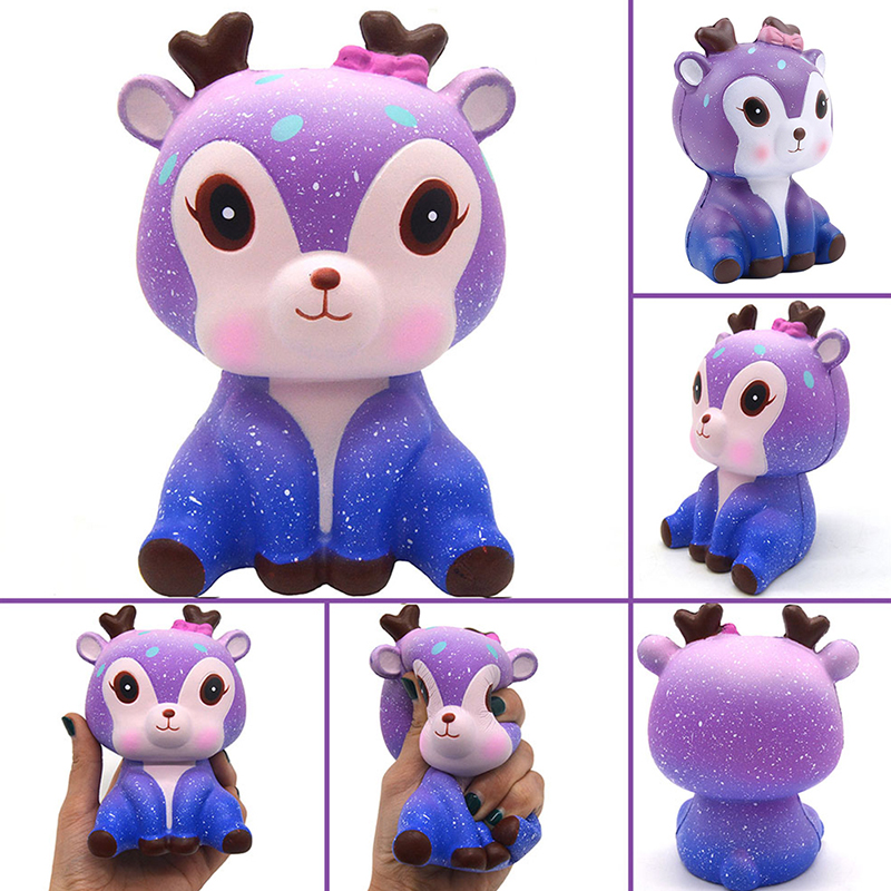 Cute Galaxy Deer Squishies Stress Reliever Squeeze Toy PU Slow Rising Gift Q