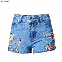 YiQuanYiMei Fashion 3D Embroidery jeans Shorts women high waist jeans Short Pants Shorts woman denim pants Short jean pantalon