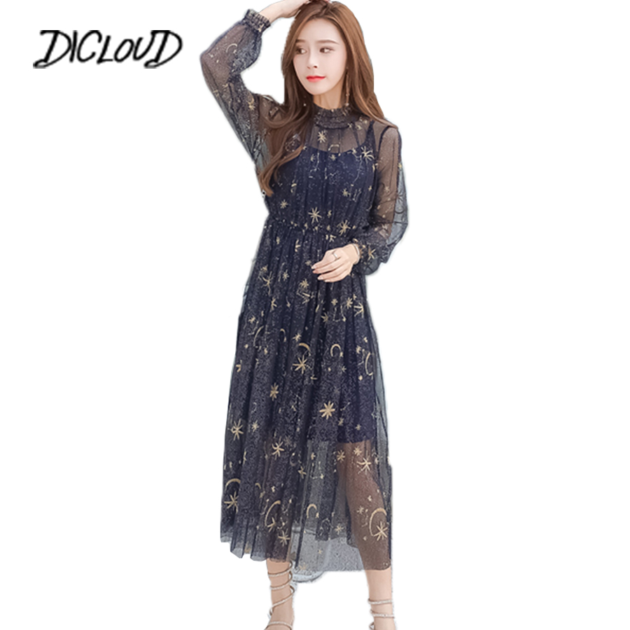 Sexy Mesh Summer Dress Women 2018 Embroidered Star Pleated Dress Fashion Puff Sleeve Ladies Long Dresses Party Vestido Clothes Платье