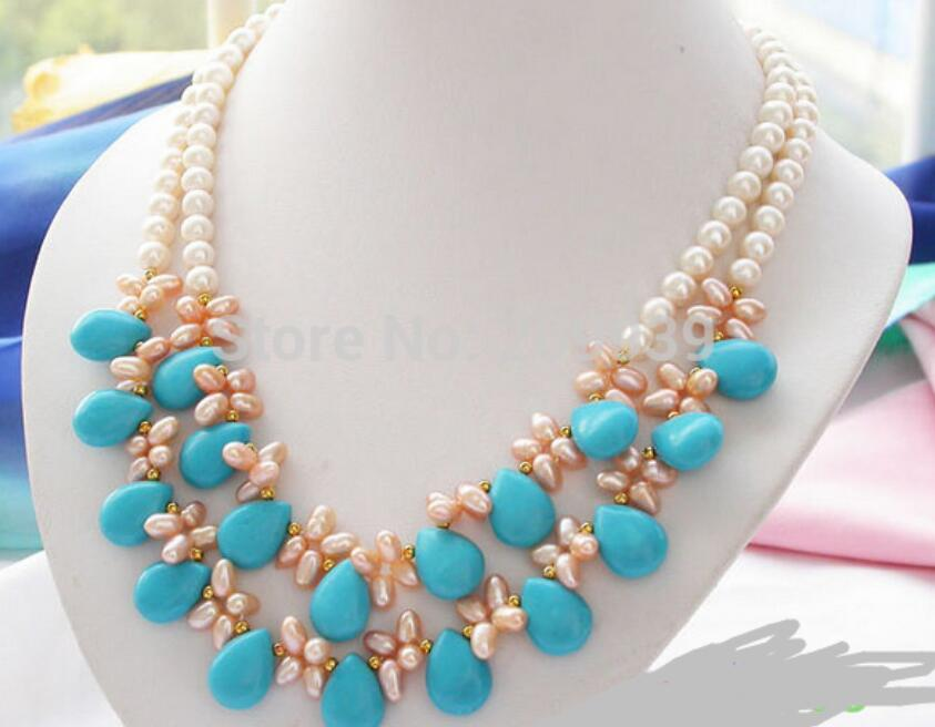 FREE SHIPPING>>>@@ AS1045 2row white pink round cultured PEARL stone NECKLACEFREE SHIPPING>>>@@ AS1045 2row white pink round cultured PEARL stone NECKLACE